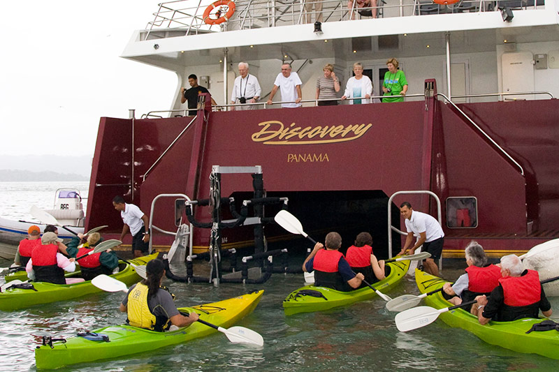 The Discovery platform lowers kayakers gently into the water