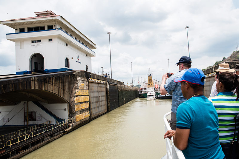 The Miraflores Locks onboard the Pacific Queen